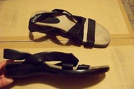 womens easy spirit emiliat black leather strappy sandals shoes size 11 - $19.78