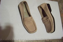 womens aerosoles tan suede leather square toe mod penny loafer shoes size 8 - $19.78