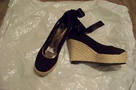womens ashro black fabric ankle lace espadrille wedge heels shoes size 7... - $18.79