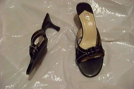 womens a2 aerosoles two glass black strappy heels shoes size 10 - $18.79