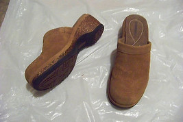 womens dockers cleok brown suede leather cork wedge mules shoes size 8 - $22.76
