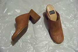 womens nine west brown leather weaved heeled mules heels shoes size 7 - $20.78