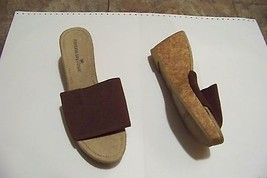 womens montego bay club brown fabric wide strap cork wedge heels shoes s... - $18.79