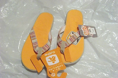 1da194144241 new womens cushe flipper orange multi stripe flip flops sandals shoes size  9 -  27.71