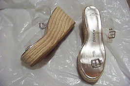 womens ashro clear strappy wedge heels shoes size 10 - $19.78
