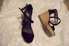 e64c244badee85 womens candies black strappy espadrille wedge heels shoes size 7 1 2 -   23.75