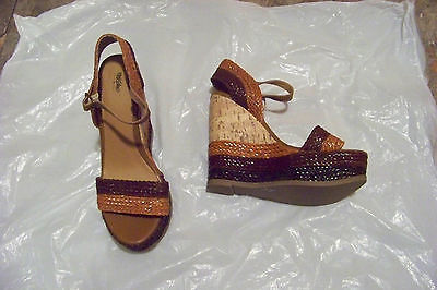fb88846ef9d womens mossimo multi brown strappy cork wedge heels shoes size 9 1 2