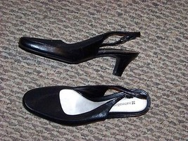 womens naturalizer alias black leather fabric slingback heels size 8 1/2 - $20.78