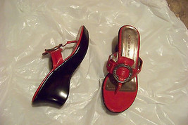 womens montego back club red strappy wedge heels shoes size 8 - $19.78
