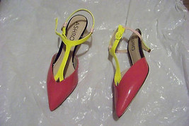 womens ashro multi-colored patent pointed toe t-strap heels shoes size 7... - $19.78