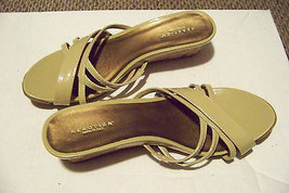 womens kenneth cole reaction fun nite strappy cork wedge heels shoes size 9 1/2 - $19.78