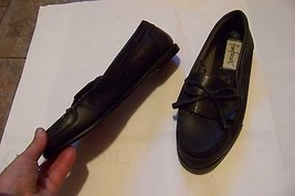 womens vtg fnafares kilt blue leather slip on loafers flats size 8/9 - $20.78
