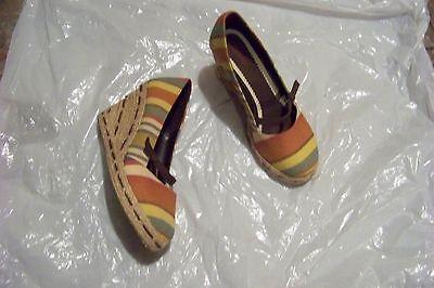 womens dexter multi stripe fabric wedge heels shoes size 6 1/2