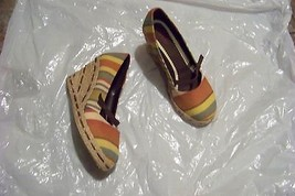 womens dexter multi stripe fabric wedge heels shoes size 6 1/2 - $18.79