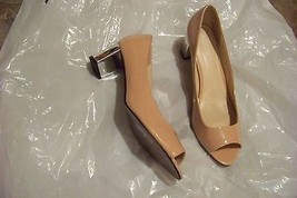 womens ashro pink patent open toe silver heels shoes size 11 - $21.77