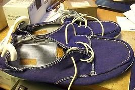 new womens olukai blue fabric dock shoes size womens size 8 mens size 6 - $80.17