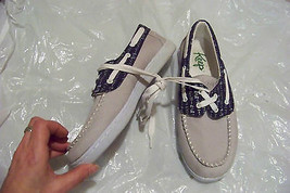 womens keep the benten gray & blue loafers deck dock shoes size 8 1/2 - $33.65