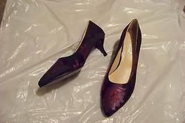 womens ashro black printed pointed toe heels shoes size 7 - $20.78