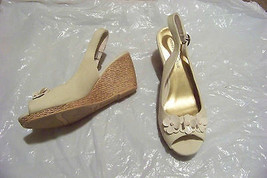 womens montego bay club vreal open toe flower wedge heels shoes size 9 1/2 - $18.80