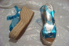 womens ashro blue clear strappy wedge heels shoes size 12 - $19.78