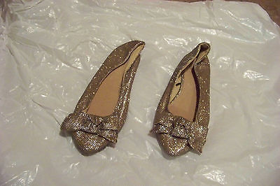 2e9fdffa7f65 womens forever 21 gold sparkle fabric pointed toe ballet falts shoes size 7