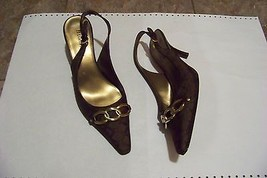 womens etienne aigner brown printed slingback heels shoes size 8 - $21.77