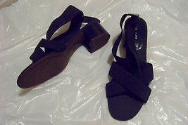 womens etienne aigner framboise blue fabric cross strap heels shoes size 9 - $23.75