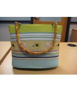 "Braciano Blue/Green Handbag with ""Bamboo"" Handles - $20.00"