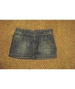 womens american eagle faded medium wash mini denim jeans skirt 6 32 - $16.82