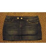 womens american eagle faded medium wash denim mini jeans skirt size 8 32 - $16.82