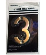 """1970s 3"""" Solid Brass Number 3 - £4.36 GBP"""