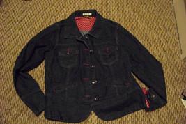 womens christopher & banks dark wash button front denim jeans jacket siz... - $20.78