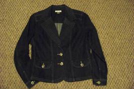 womens christopher & banks beaded button front dark wash denim jeans jac... - $21.77