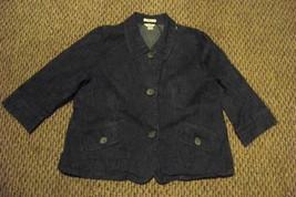 womens christopher & banks medium wash 3/4 sleeve denim jean jacket size m - $21.77