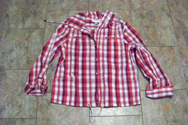 womens christopher & banks red multi snap fron jacket size small - $20.78