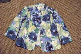 womens christopher & banks floral printed 3/4 sleeve jacket size small - $22.76