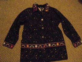 womens denim & co black denim embroidered jacket size small - $23.75