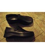 womens dr scholls marci black leather slip on side zip shoes size 5 - $20.78