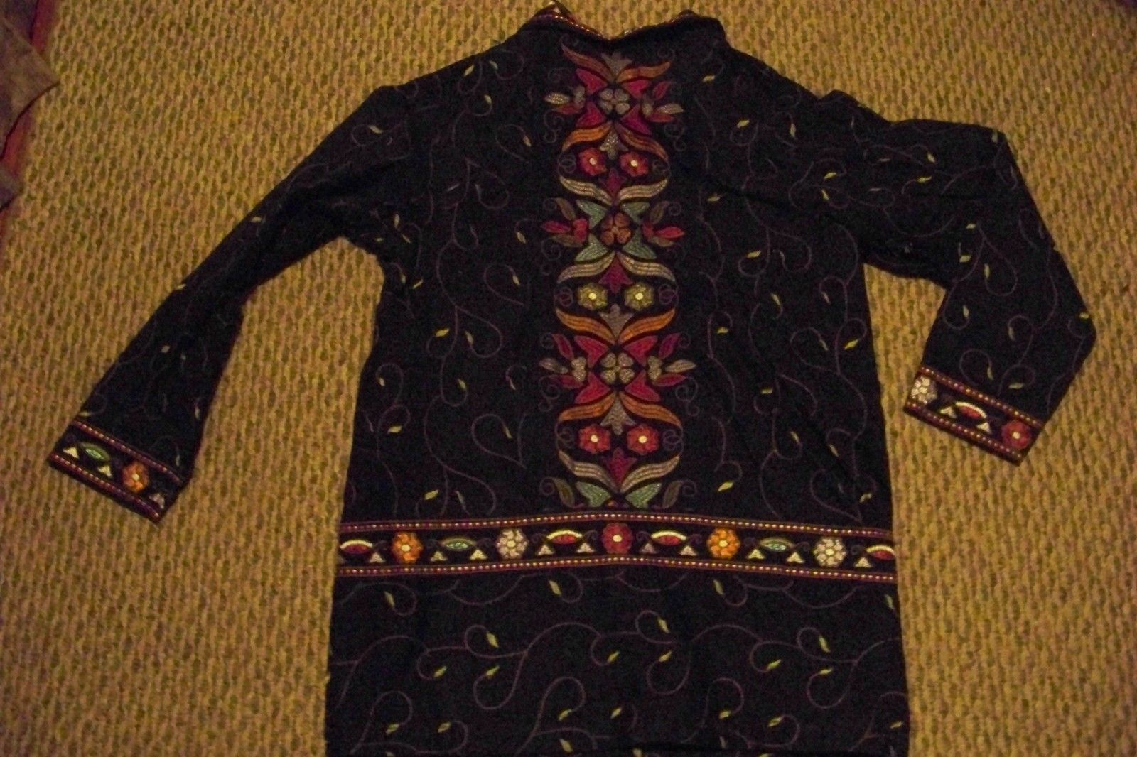 womens denim & co black denim embroidered jacket size small