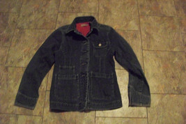 womens i.e. faded dark wash button front denim jeans jacket size small - $21.77