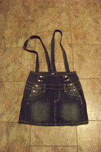 womens/juniors h&g faded dark wash denim bib overall jeans skirt size me... - $18.80