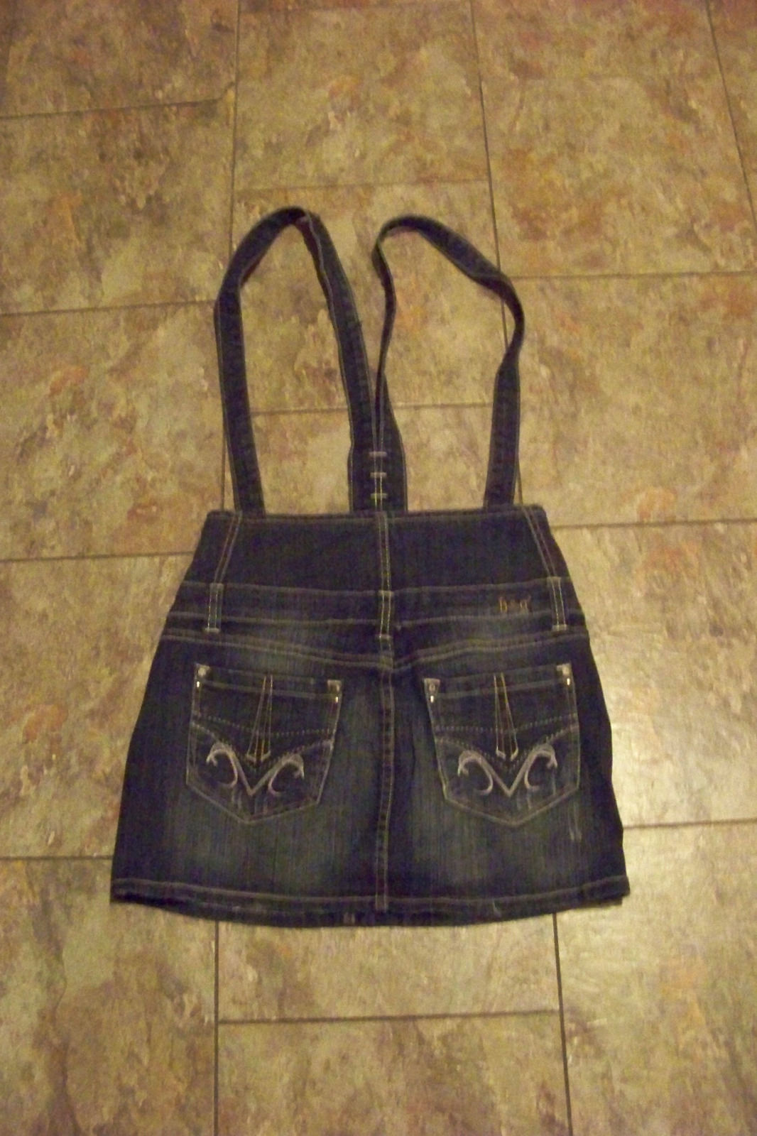 womens/juniors h&g faded dark wash denim bib overall jeans skirt size medium 26