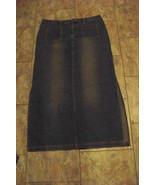 womens juniors unionbay faded medium wash long denim jeans skirt size 15 34 - $20.78