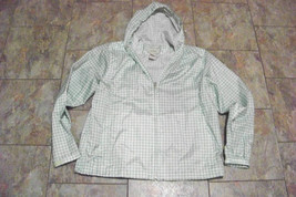 womens ll bean green printed zip front light weight jacket size large - $19.79