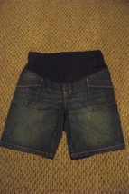 womens old nave fade dark wash maternity denim jeans shorts size 8 - $16.82