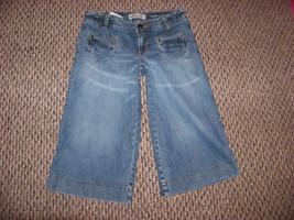 womens old navy wide leg denim jeans shorts capris sz 1 - $13.85