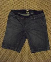 womens old navey faded dark wash maternity denim jeans shorts double waist sz lg - $17.81