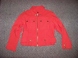 womens ruby rd bright orange rayon blend light weight jacket size 8 p - $22.76
