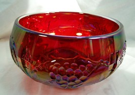 Grapes & Floral Cupped Rose Bowl Ruby Red Carnival - $46.74