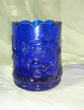 Wreathed Cherry Toothpick Holder Cobalt Blue Glass - $14.95